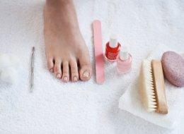 foot, nail file, nail polish, pumice stone, pedicure