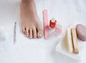 foot, nail file, nail polish, pumice stone, pedicure