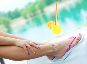 Poolside Cocktail, Colorful Manicure and Pedicure
