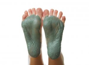 Feet Covered in a Homemade Mud Bath Treatment
