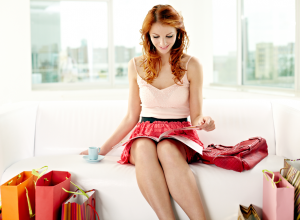 Redheaded Woman Reading A Magazine