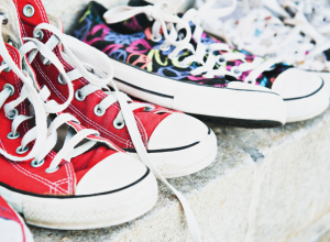 Colorful Converse Sneakers On A Sidewalk