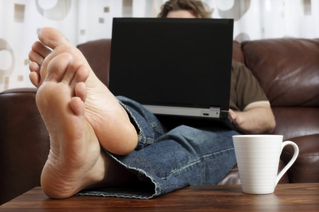 Feet Computer Working From Home