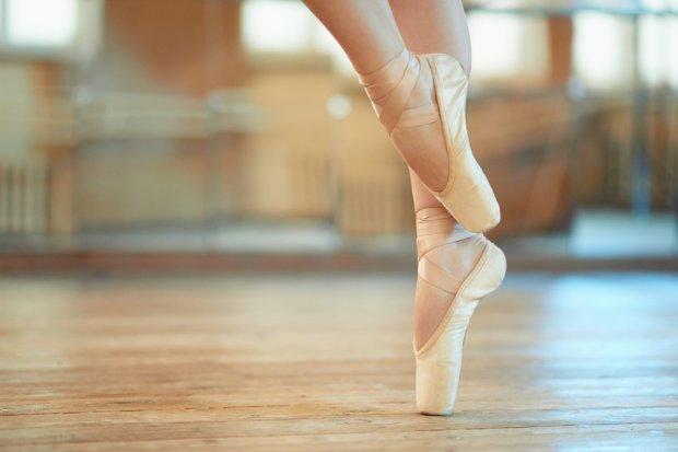 Women giving ballet slipper footjob
