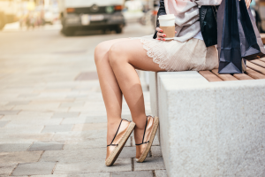 Fashionable Woman Wearing Gold Espadrilles
