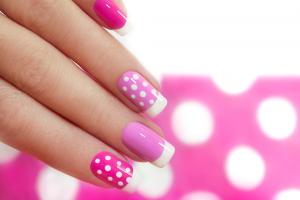 Pink Polka Dot Nail Art